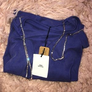 Women's UO Blue crop top with Rhinestone Straps